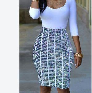 Dresses & Skirts - Round neck print patchwork sheath dress